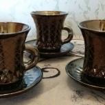 Чашки с блюдцами 5 штук (стекло) 300 руб, Казань